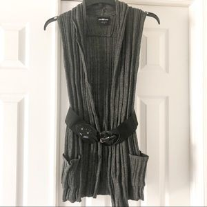 It's Our Time S Gray Ribbed Belted Open Cardigan